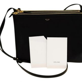 6e02253edc528 AAA Céline Imitation Trio Fall Large Messenger Black Leather Cross Body Bag  luxury 7 star replica handbags