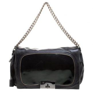... Cheap Céline Knockoff Turnlock Chain Black Leather Shoulder Bag celine  replica box ... 42af4d7a9e0d9