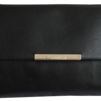 Designer Céline 1 1 Mirror Replica Foldover Black Leather Clutch celine  replica frame 0448448d09be7
